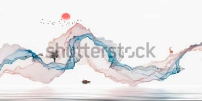 Adesivo Pittura a inchiostro, paesaggio artistico, linee astratte sfondo
