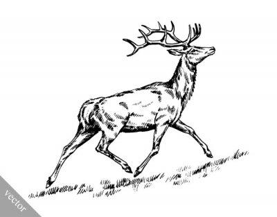 Adesivo pittura a inchiostro pennello disegnare vettore cervi illustrazione