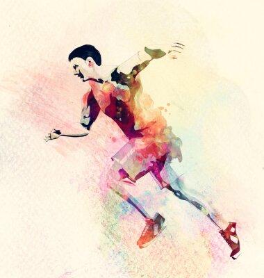 Adesivo pittura ad acquerello colorato di uomo in esecuzione. Abstract background sportivo creativo
