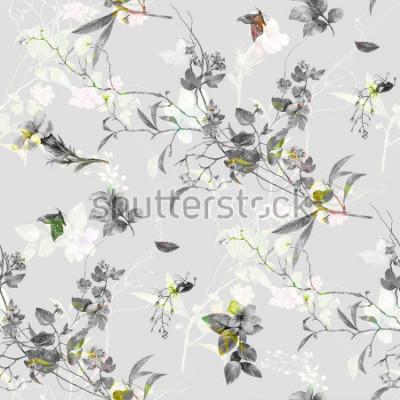 Adesivo Pittura ad acquerello di foglie e fiori, modello senza guarnizioni su sfondo grigio