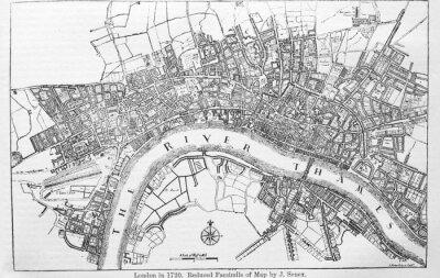 Adesivo Plan of London in 1720 in the old book The Encyclopaedia Britannica, vol. 14, by C. Blake, 1882, Edinburgh