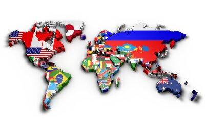 Adesivo Planisfero Mondo 3d con bandiere in Rilievo