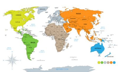Adesivo Political world map on white background, with every state labeled and selectable. Colored by continents. Versatile file, turn on an off visibility and color of each country in one click.