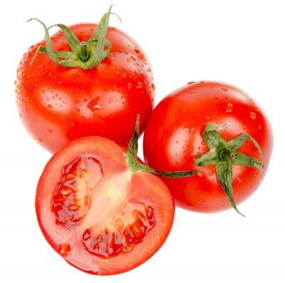 Adesivo pomodori con gocce d'acqua isolati su sfondo bianco