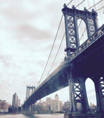 Adesivo ponte di Manhattan sul fiume in stile vintage, New York