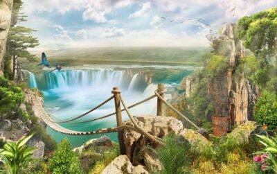 Adesivo ponte sopra la cascata
