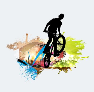 Adesivo Ponticello BMX durante il salto ostacoli
