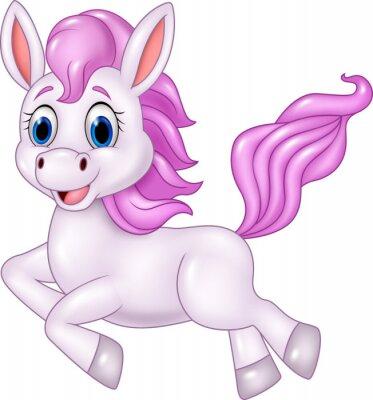 Adesivo pony Carino in esecuzione isolato su sfondo bianco