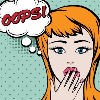 Adesivo Pop art donna sveglia con OOPS segno