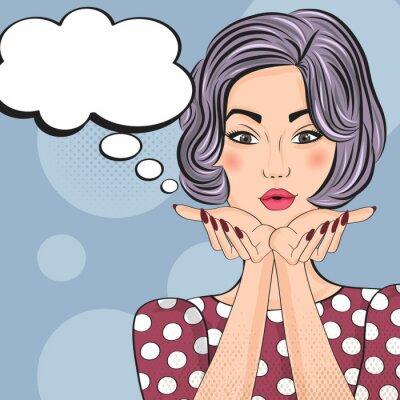 Adesivo Pop Art illustration of girl with the speech bubble