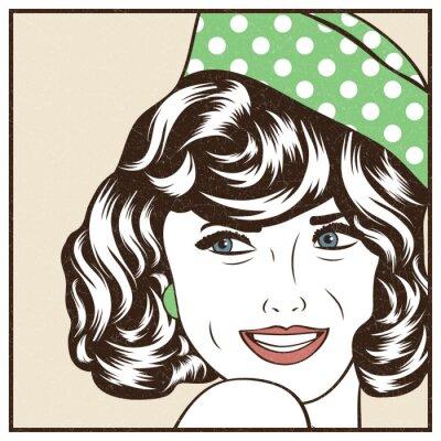 Adesivo Pop Art illustrazione di ragazza