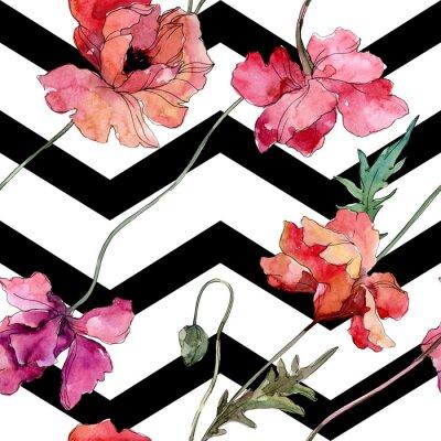 Adesivo Poppy floral botanical flower. Watercolor background illustration set. Seamless background pattern.