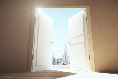 Adesivo Porte aperte da stanza vuota di megalopoli città con grattacieli