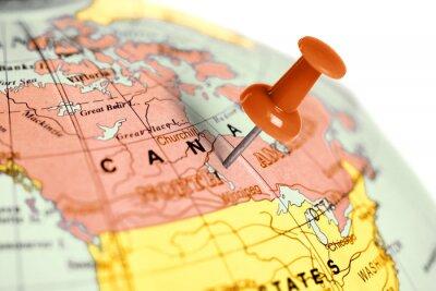 Adesivo Posizione Canada. Rosso pin sulla mappa.
