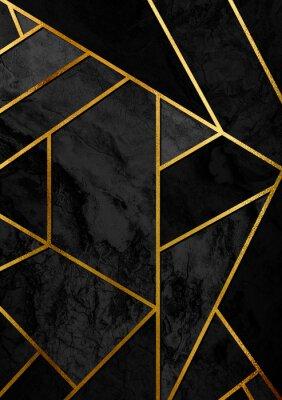 Adesivo Poster astratta moderna ed elegante con linee dorate e motivo geometrico nero.