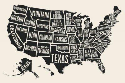 Adesivo Poster mappa degli Stati Uniti d'America con i nomi di stato. In bianco e nero Mappa stampa di USA per t-shirt, poster o temi geografici. Disegnati a mano mappa nera con gli Stati. illustrazione vetto