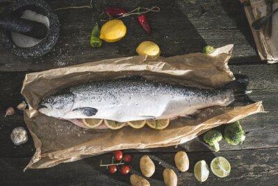 Adesivo Preparazione pesce intero salmone per la cottura