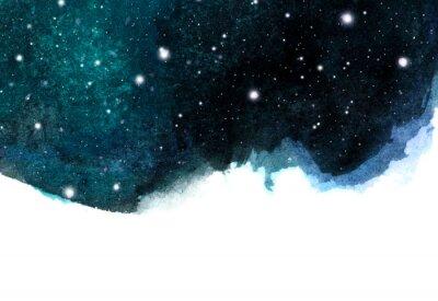 Adesivo Priorità bassa del cielo notturno dell'acquerello con le stelle. layout cosmico con spazio per il testo.