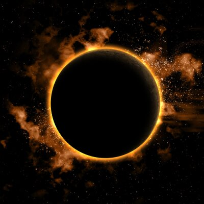 Adesivo Priorità bassa dello spazio con il pianeta eclissato