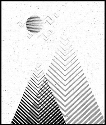 Adesivo Priorità bassa triangolare geometrica di vettore, montagne astratte. Priorità bassa con le montagne. Disegno floreale, con elementi minimi. Usi per carta, manifesto, opuscolo, bandiera. Bianco e bianc