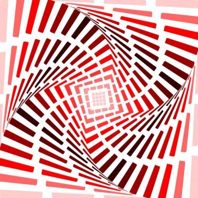 Adesivo Progettare piroetta rosso movimento illusione di fondo. Striscia astratto