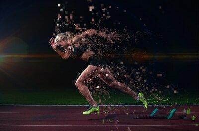 Adesivo progettazione pixel di donna velocista lasciando blocchi di partenza