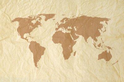 Adesivo Programma di mondo su yallow Sfondo vintage consistenza