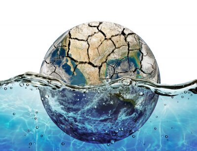 Adesivo Prosciugato pianeta immerso nelle acque di oceani