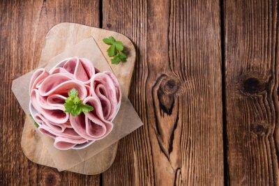 Adesivo Prosciutto Salsiccia su fondo in legno
