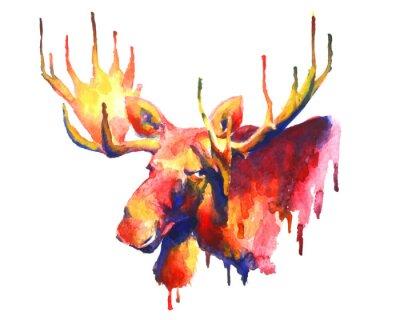 Adesivo Psychedelic acquerello brillante disegno alce