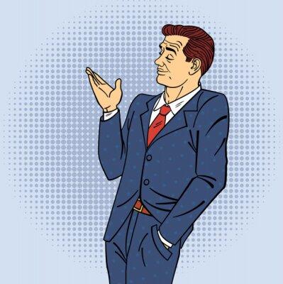 Adesivo Pubblicità uomo in stile pop art di puntamento mano sul prodotto