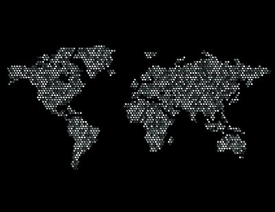 Adesivo Punteggiato Mappa del Mondo Continenti casuale grigio