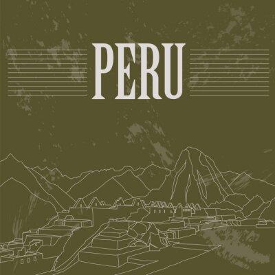 Adesivo punti di riferimento Perù. Stile retrò immagine.