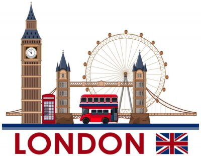 Adesivo Punto di riferimento di Londra su sfondo bianco