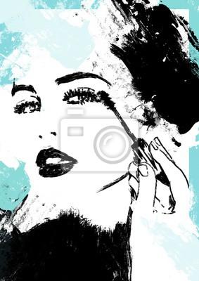 Adesivo Putting on make up. Girl or woman put on cosmetics.