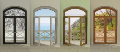 Adesivo Quattro finestre in diversi momenti dell'anno. Quattro finestre multicolori con accesso alle diverse stagioni.