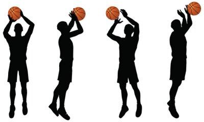 Adesivo raccolta di giocatori di basket silhouette in posizione di tiro