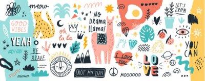 Adesivo Raccolta di slogan o frasi scritte a mano ed elementi di design decorativo disegnati a mano in stile doodle alla moda - animali, piante, simboli. Illustrazione vettoriale colorato per la stampa di t-s
