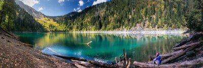 Adesivo Ragazze Ammira Vista panoramica delle montagne e il lago di Ritsa Reserve in Abkhazia