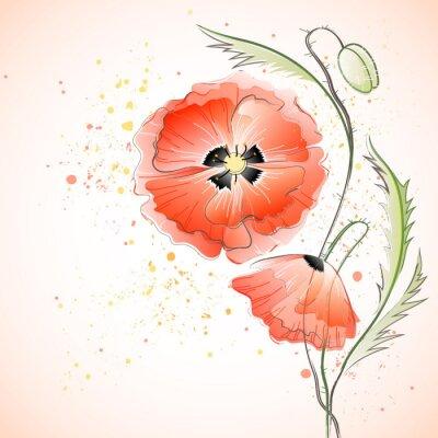 Adesivo Red Poppy Bouquet