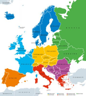 Adesivo Regions of Europe, political map, with single countries and English labeling. Northern, Western, Southeastern, Eastern, Central, Southern, Southwestern Europe in different colors. Illustration. Vector
