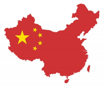 Adesivo Repubblica Popolare Cinese bandiera nella Mappa illustrazione vettoriale