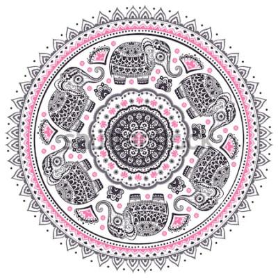 Adesivo Reticolo della mandala dell'elefante etnico sveglio del loto indiano grafico dell'annata di vettore. Ornamento tribale africano. Può essere utilizzato per un libro da colorare, tessuto, stampe
