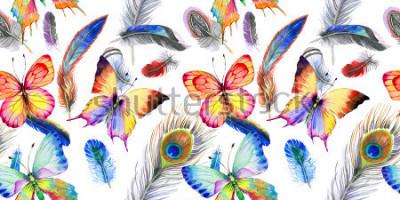Adesivo Reticolo della piuma di uccello dell'acquerello dall'altra. Fiore selvaggio Aquarelle per sfondo, trama, modello di involucro, cornice o bordo.