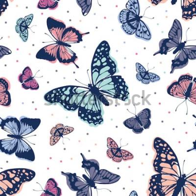 Adesivo Reticolo di farfalle di vettore Astratto sfondo senza soluzione di continuità
