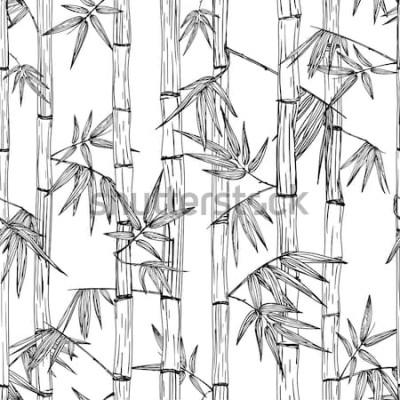Adesivo Reticolo di foresta di bambù senza giunte di vettore. Sfondo schizzo disegnato a mano bianco e nero. Design per stampa tessile moda, spa e massaggi asiatici, pacchetto cosmetici, materiali per mobili.
