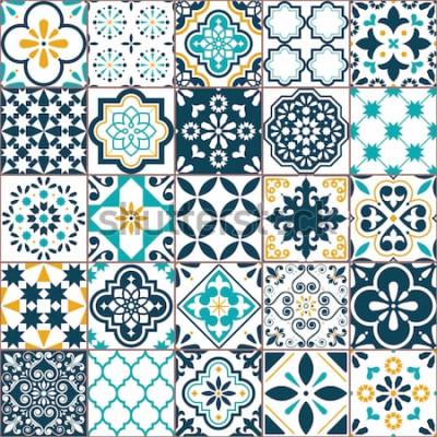 Adesivo Reticolo geometrico di vettore delle mattonelle di Azulejo di Lisbona, retro vecchio mosaico portoghese o spagnolo delle mattonelle, turchese senza cuciture mediterraneo e progettazione gialla. Sfondo