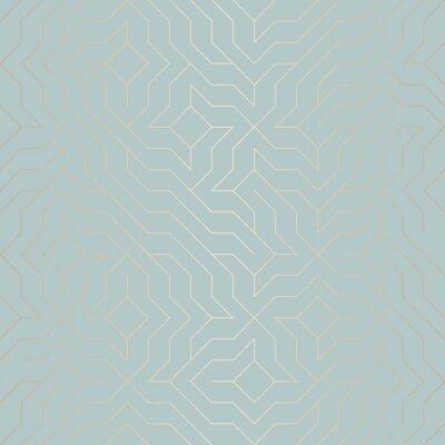 Adesivo Reticolo geometrico dorato vettoriale senza soluzione di continuità. Sfondo astratto trama di rame sul verde blu. Stampa grafica semplice minimalista. Griglia moderna in tronco turchese. Trendy hipste