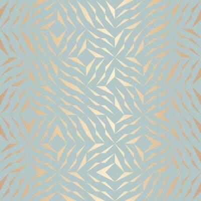 Adesivo Reticolo geometrico geometrico dorato vettoriale senza soluzione di continuità. Sfondo astratto trama di rame sul verde blu. Stampa grafica semplice minimalista. Griglia moderna in tronco turchese. Tr