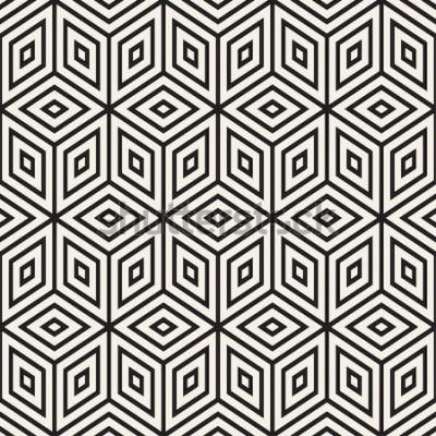 Adesivo Reticolo monocromatico alla moda. Disegno astratto sfondo geometrico. Reticolo in bianco e nero senza giunte di vettore.